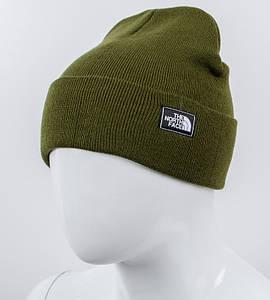 Молодежная шапка Рожки, The North Face, реплика, (хаки)