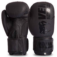 Перчатки боксерские кожаные на липучке VENUM черные MA-0703