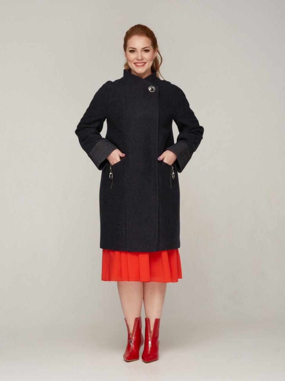 Женское пальто с отложным воротником, размеры 50-60