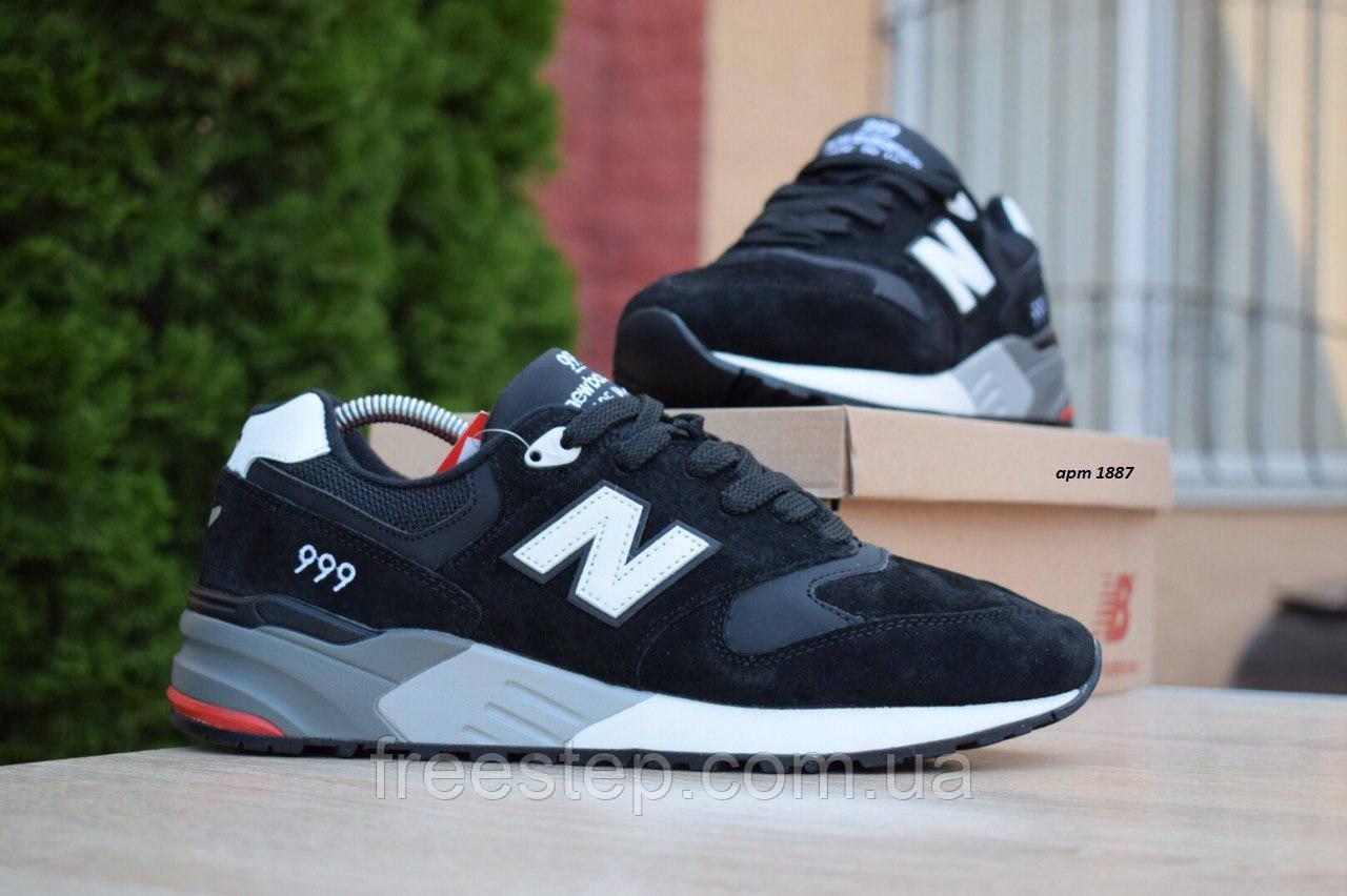 Чоловічі кросівки в стилі New Balance 999 чорні (біла N) замша