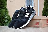Чоловічі кросівки в стилі New Balance 999 чорні (біла N) замша, фото 4