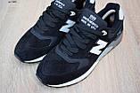 Чоловічі кросівки в стилі New Balance 999 чорні (біла N) замша, фото 5