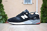 Чоловічі кросівки в стилі New Balance 999 чорні (біла N) замша, фото 7
