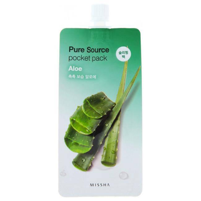 Ночная маска с экстрактом алоэ MISSHA Pure Source Pocket Pack Aloe 10 мл, фото 2