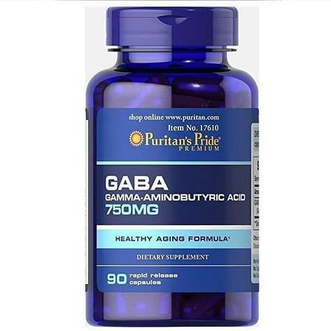 Здоровье Gaba Puritans Pride 750 mg 90 caps, фото 2