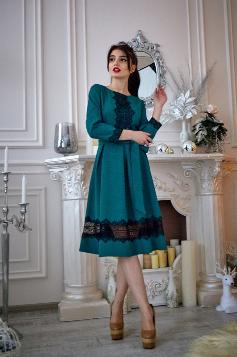 Молодёжное платье с чёрным кружевом 46,48,50,52, фото 2
