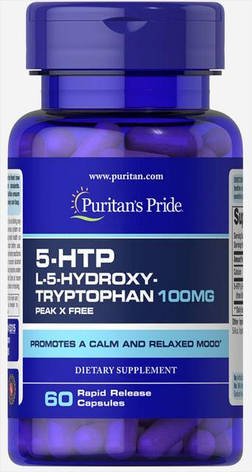 Для хорошего настроения 5 HTP Puritans Pride 100 мг 60 капс, фото 2