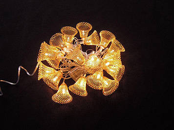 Гирлянда колокольчик золото 20LED 3м теплый белый