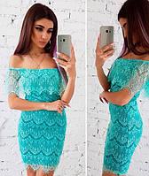 Ажурное мятное платье
