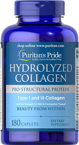 Коллаген Hydrolyzed Collagen Puritan's Pride 1000 mg 180 caps, фото 2