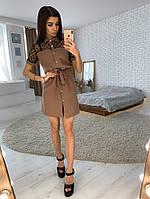 Коричневое платье-рубашка со вставкой из сетки -добби