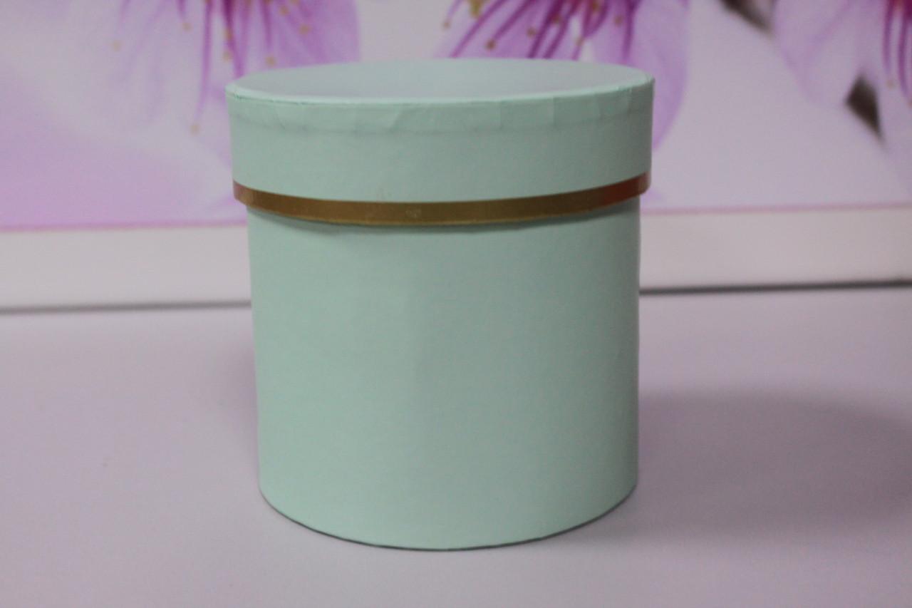 Коробочка круглая высокая зеленая 10 см