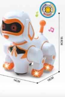 Детская игрушка собака робот с звуковыми и световыми эффектами.Танцующий щенок на батарейках.