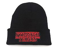 Шапка Очень странные дела / Stranger Things черная  с логотипом