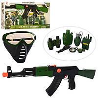 Детский набор военного для мальчика ( Автомат, Бинокль, граната, пистолет, рация, компас, фляга, маска )