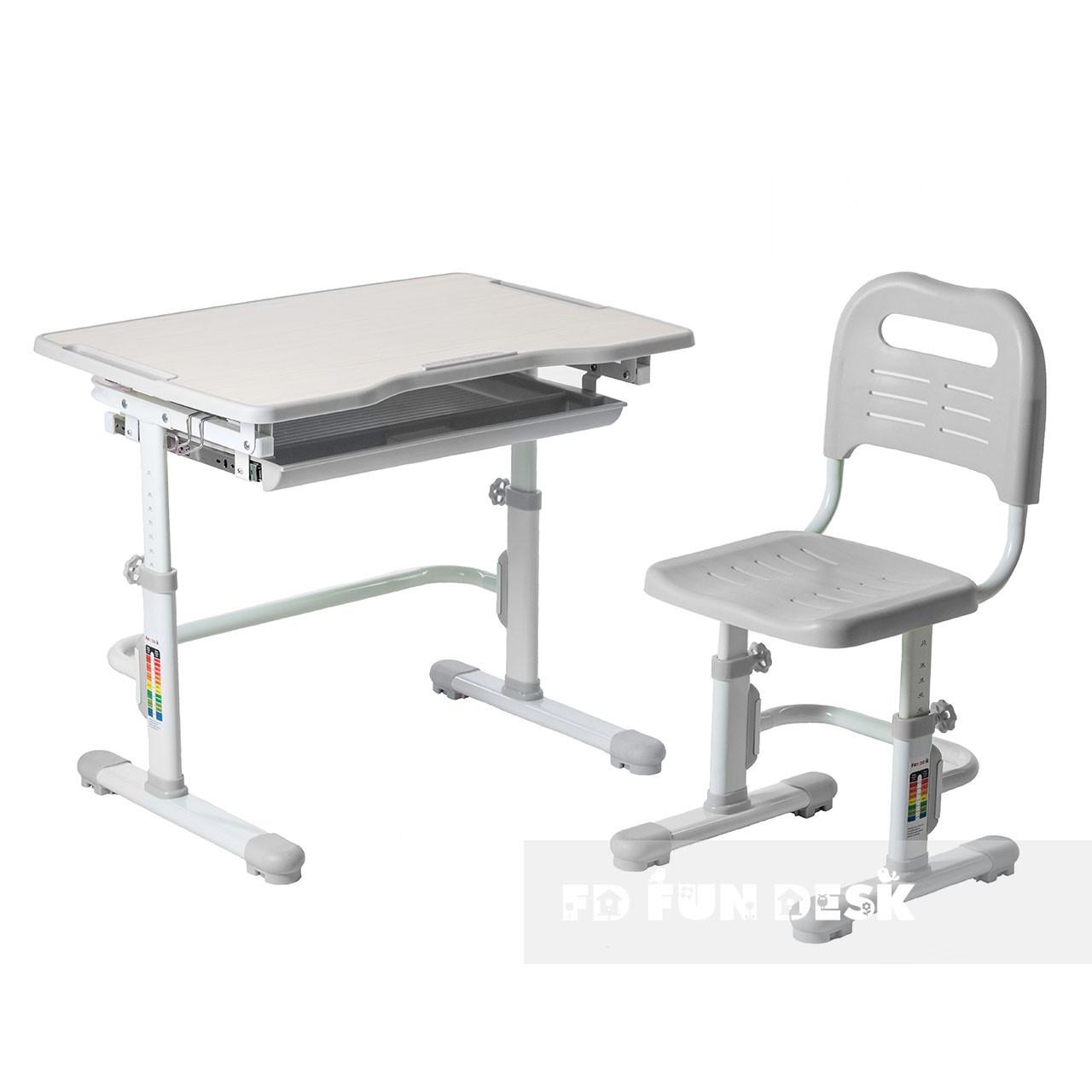 Комплект парта + стул трансформеры Vivo Grey FUNDESK - ОПТОМ ДЛЯ ШКОЛ
