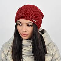 """Женская шапка """"Цепочка"""" бордо, фото 1"""