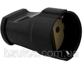 Розетка РА16-319 АБС черная