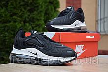 Чоловічі кросівки в стилі Nike Air Max 720 чорні на білому текстиль