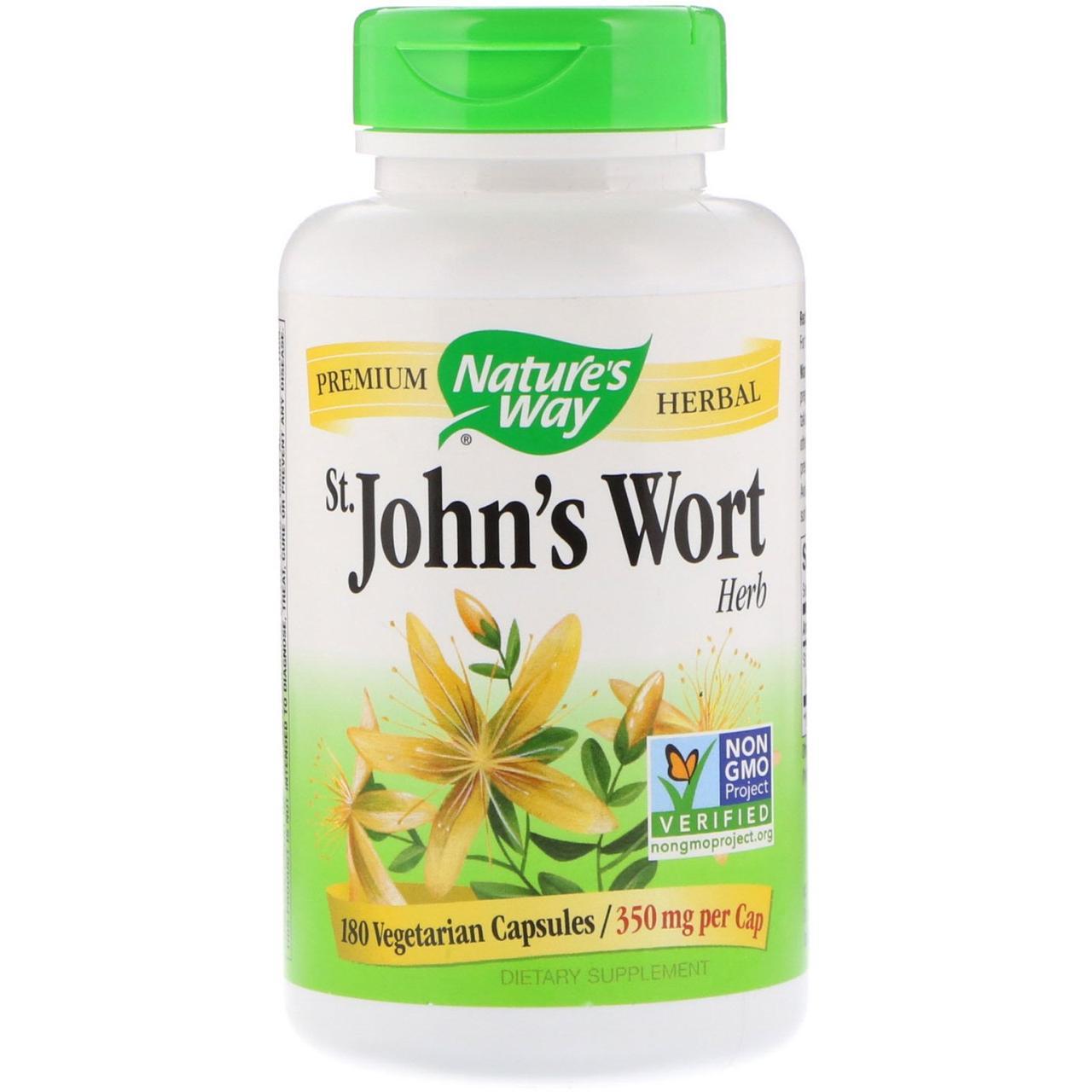 Зверобой, 350 мг, 180 вегетарианских капсул Nature's Way