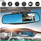 Автомобільне дзеркало відеореєстратор для авто на 2 камери VEHICLE BLACKBOX DVR 1080p камерою заднього виду, фото 2