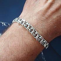 Серебряный мужской браслет, 215мм, 25 грамм, плетение Бисмарк, фото 2