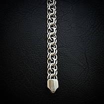 Серебряный мужской браслет, 215мм, 25 грамм, плетение Бисмарк, фото 3