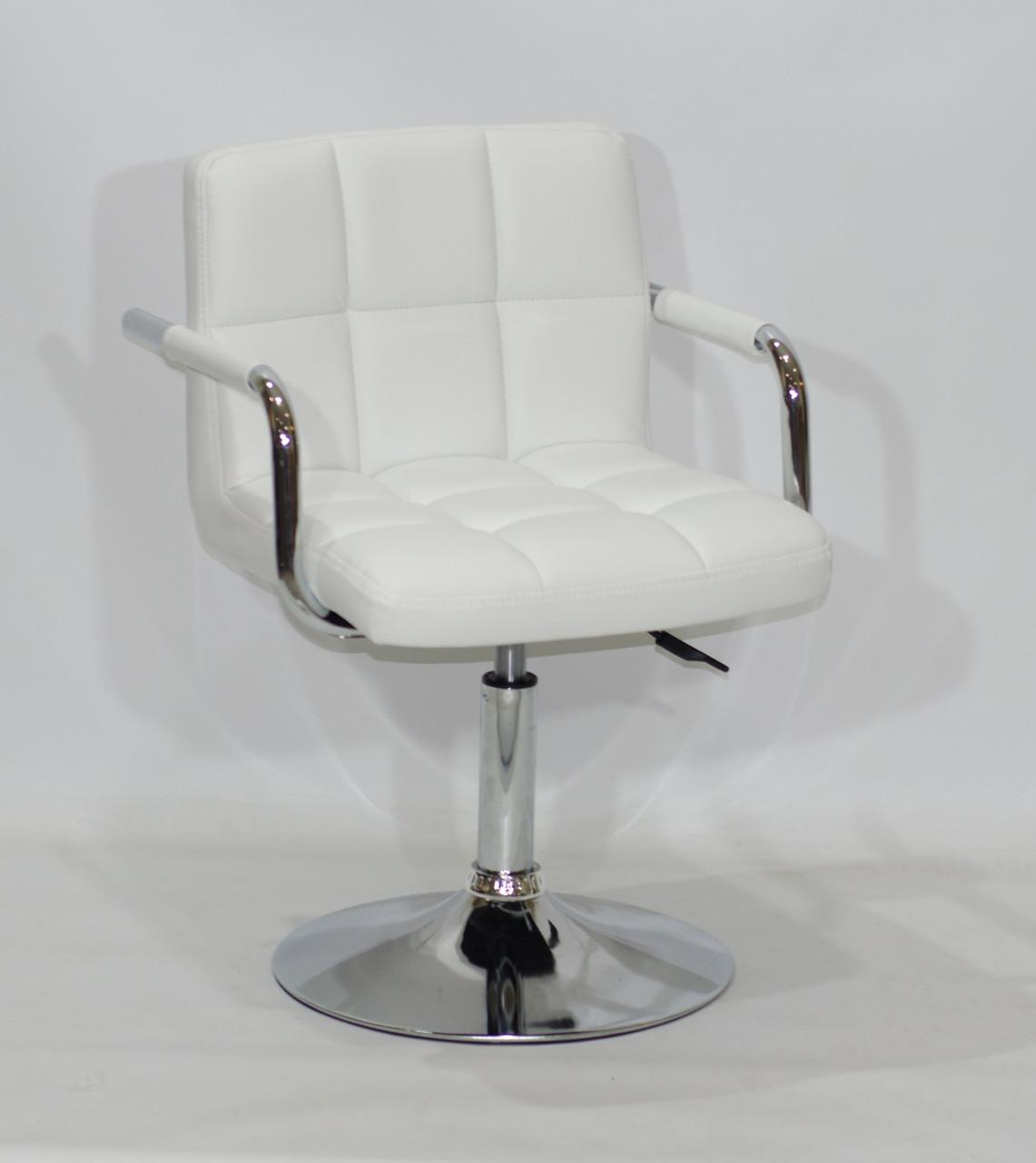 Кресло парикмахера ARNO (Арно) CH-BASE ЭК белое на блине с подлокотниками экокожа