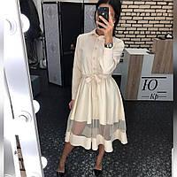 Женское Платье миди с сеткой