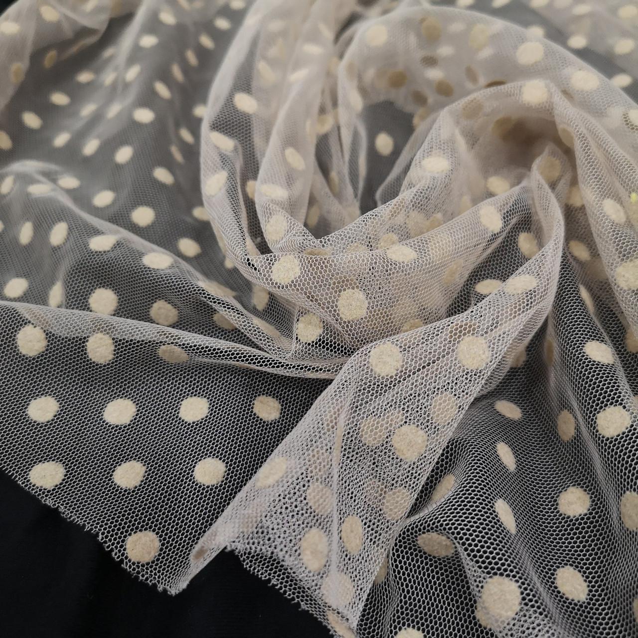 Ткань сетка с флоком горох бежевая