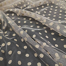 Ткань сетка с флоком горох бежевая, фото 2