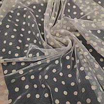 Ткань сетка с флоком горох бежевая, фото 3