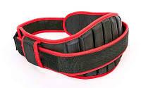 Пояс атлетический усиленный регулируемый XB9111 (р-р 80х18см, от 115 до 130см, черный-красный) Код XB9111
