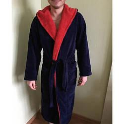 Мужской махровый халат синий с красным , размер L- 6XL