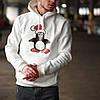 Худи толстовка с капюшоном мужской зимний теплый белый с принтом Пингвин