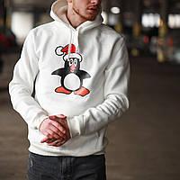 Худи толстовка с капюшоном мужской зимний теплый белый с принтом Пингвин, фото 1