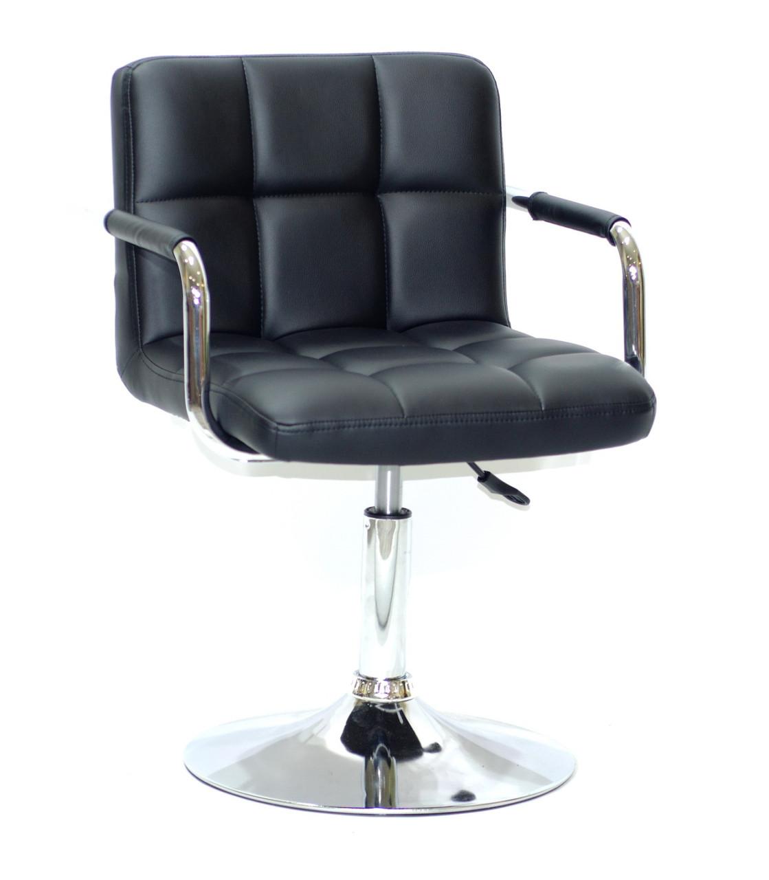 Кресло парикмахера ARNO (Арно) CH-BASE ЭК черное на блине с подлокотниками экокожа