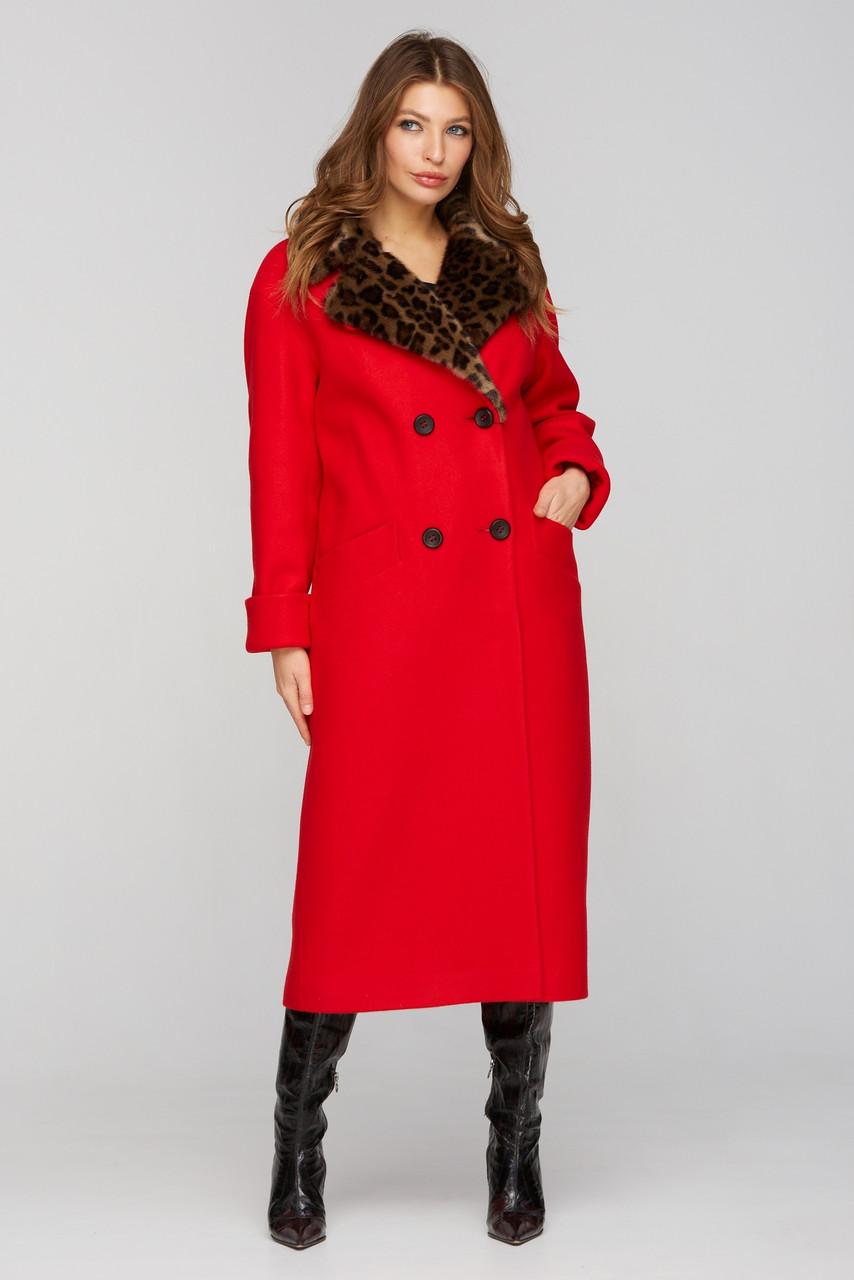 Зимнее женское красное пальто с леопардовым воротником, размеры 48 50 52