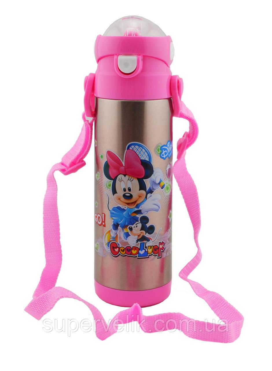 Термос детский DisneY, Микки, Минни маус 500 мл металлический бутылочка с трубочкой