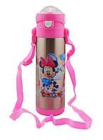 Термос детский DisneY, Микки, Минни маус 500 мл металлический бутылочка с трубочкой, фото 1