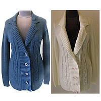 Кофта женская пиджачного типа на пуговицах без карманов, с лацканами, белого и синего цвета, р.46-48 код 4197М