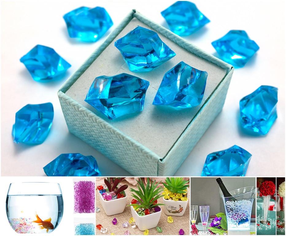 (300грамм ≈ 150шт) Кристаллы для декора, акрил 24х17мм (искусственный лед) Цвет – Бирюзовый