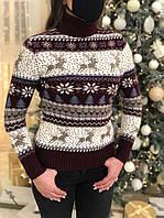 Жіночий светр новорічний з оленями бордовий, фото 1