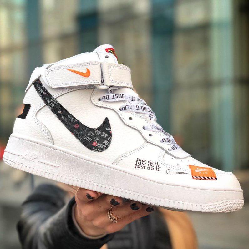 Кроссовки мужские Nike Air Force Высокие Just Do It (белые) Top replic
