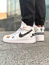Кроссовки мужские Nike Air Force Высокие Just Do It (белые) Top replic, фото 3