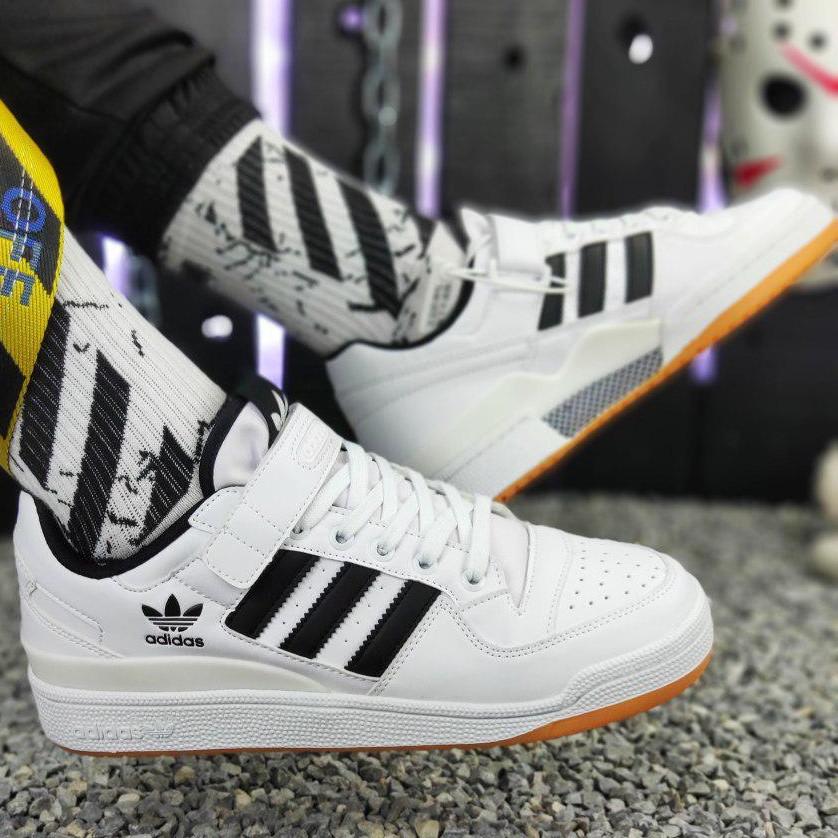 Кроссовки мужские Adidas Forum Mid (белые) Top replic