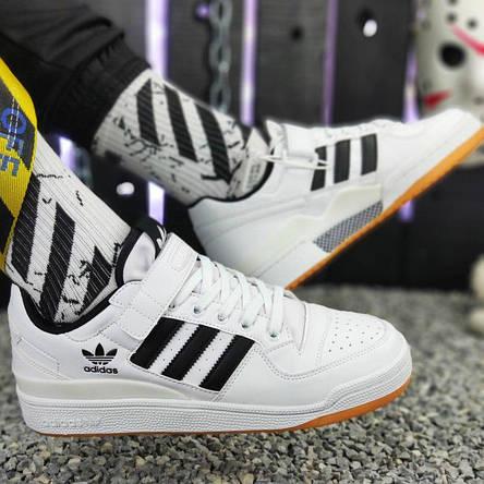 Кроссовки мужские Adidas Forum Mid (белые) Top replic, фото 2