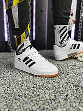 Кроссовки мужские Adidas Forum Mid (белые) Top replic, фото 3