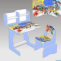 Парта детская со стульчиком Bambi W 2071 для дома Бамби регулируемая Дикие Скричеры
