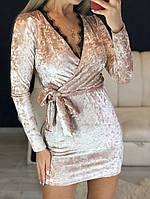 Платье женские коктейльное, бежевое, материал - бархат муар, кружево, код G-105